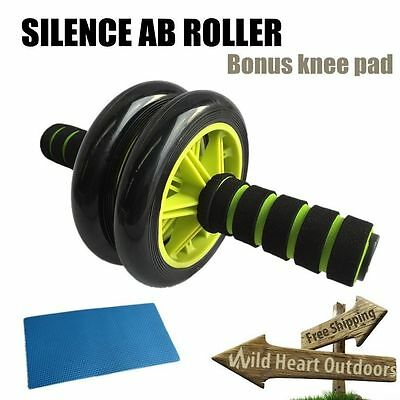 AB Roller Abdominal Silence Fitness Waist Gym Exercise Wheel Knee Pad Green