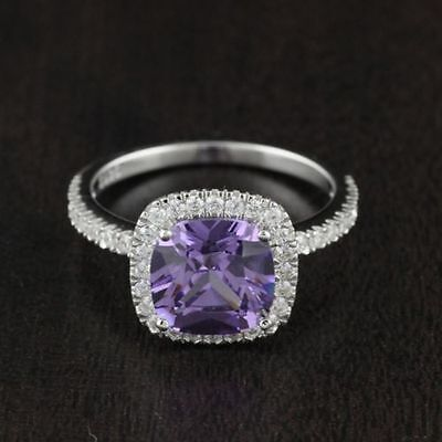 Womens Solid 925 Sterling Silver CZ Amethyst Solitaire Pave Engagement Ring