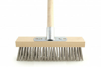 """Wire Broom with Bracket and Wooden Handle 12"""" Galvanised"""