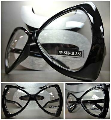 OVERSIZE EXAGGERATED HUGE Clear Lens EYE GLASSES Black Bow Shaped Fashion Frame