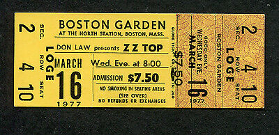 1977 ZZ Top Unused Full Concert Ticket Boston Garden TeJas World Wide Texas Tour