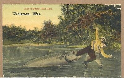 1913 They're Biting Well Here Exaggeration Fishing Ableman Rock Springs WI PC