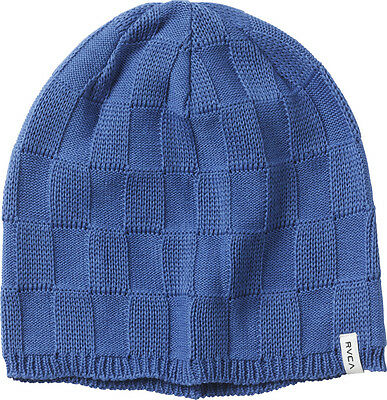 NWT Women s RVCA Checked Out Beanie Azul Blue One Size Checkered Knit Hat  Cap 829337caaa