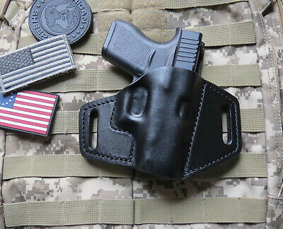 PANCAKE HOLSTER FOR Glock 43 OWB Leather with Forward Cant, Handmade Custom