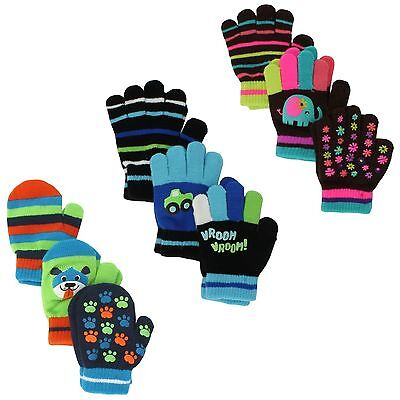 Jumping Beans Colorful Winter Gloves or Mittens for Boys or Girls - 3 Pack 2T-4T