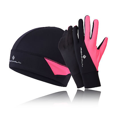 Ronhill Womens Pink Black Thermalite Hi Viz Sports Beanie And Gloves Set S/M
