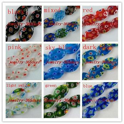 Millefiori Glass Oval Spacers 8x10mm/10x14mm/13x18mm