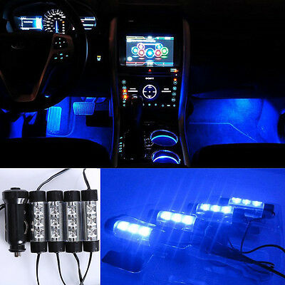 12V 4x3LED Car Van Charger Footwell Neon Light Interior Lamp Blue On/OFF Switch