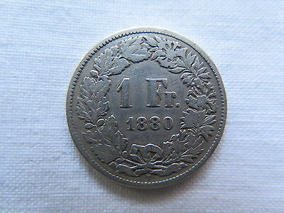 1880 Switzerland 1 Franc Silver Coin Nice Collectable Vg Condition