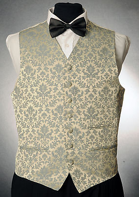 W - 1057.mens And Boys Silver And Blue Floral Waistcoat Wedding/ Dress/ Formal