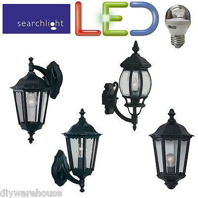 Searchlight Led Outside Die Cast Black Lantern Garden Wall Light Energy Saving