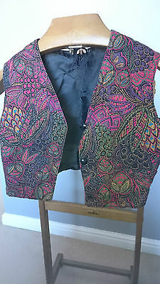 """Vintage Black Ladies Waistcoat with Dark Coloured Patterns - Size X Small 30"""""""
