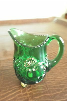 Antique 1890's RIverside/McKee CROESUS EMERALD GREEN & GOLD SM Breakfast Cream