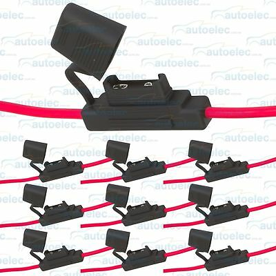 10x (10 PACK ) INLINE MAXI BLADE FUSE HOLDER HEAVY DUTY 8AWG WIRE 100A AMP RATED