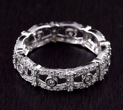 Womens 925 Sterling Silver CZ Micro Pave Wedding Band Engagement Ring 5.5mm Wide