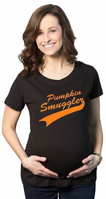 Womens Pumpkin Smuggler Orange Halloween  Maternity Funny Pregnancy T Shirt