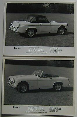 MG Midget Two original b/w Press Photographs 168111 & 168113