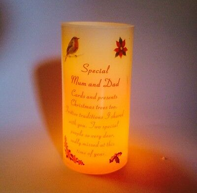 Christmas Memorial Candle For Mum & Dad Festive Grave Ornament