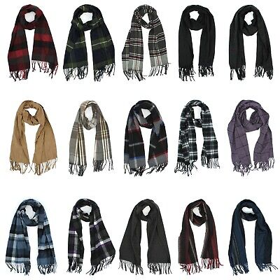 Croft & Barrow Scarf with Fringed Ends for Men - Plaid or Solid - 65 inches