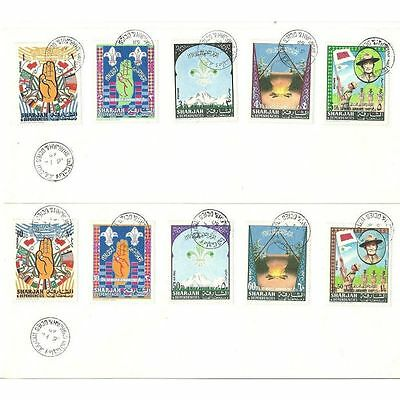 Sharjah 1968 Scout set of 10 on 2 FDC