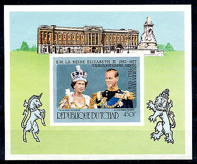 Chad 1978 Coronation opt Imperf MS  MNH