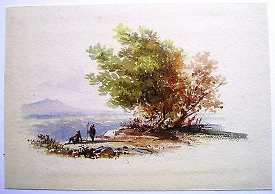 Continental Landscape Figures By A Tree Watercolour C1830