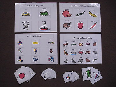 PECS set of four matching games For Autism/ASD/ADHD/ visual Learning