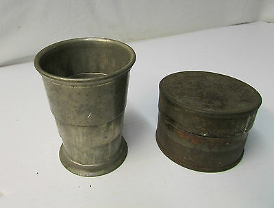 Antique U.S.A. Civil War Collaspsible Tin Drinking Cup and Container