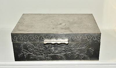 Vtg Chinese Silverplated Metal Dragon Box w/ Wood Lining
