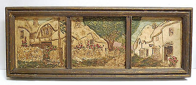 Framed Claycraft Scenic Triptych Cottages Vintage California