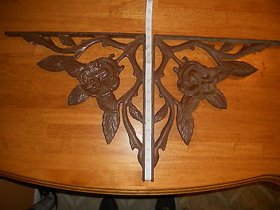 "PAIR (2)..Vintage Large Cast Iron Decorative Wall Bracket w/ Rose Motif  15""x15"""
