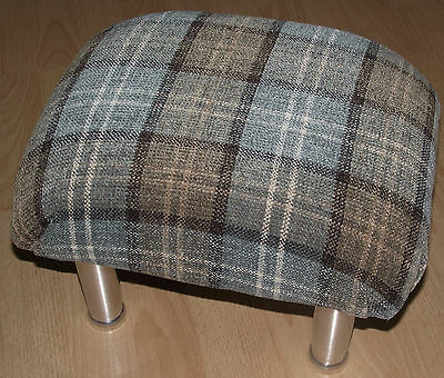 Superb new pale green tartan small footstool with chrome metal legs foot stool