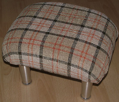 Superb new beige/tan tartan small footstool with chrome metal legs foot stool uk