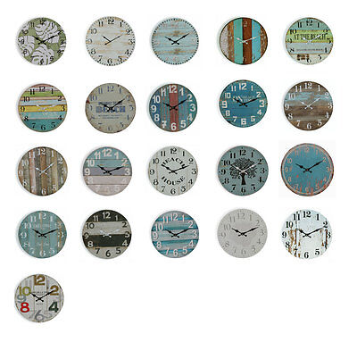 Wall Clock | Beach Clocks Coloured Boards, Teal, Blue Boards Welcome Choose 34cm