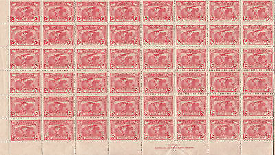 Stamps Australia 2d red Kingsford Smith issue part sheet of 60 MUH with imprint
