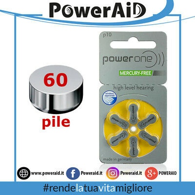 60 pile Power One P10 - PR70 (Giallo) MERCURY FREE - Batterie Protesi Acustiche