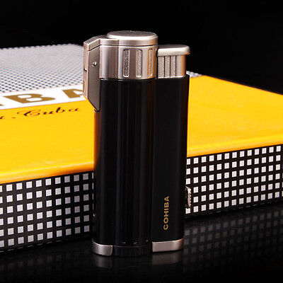 COHIBA Black 3 Torch Jet Flame Cigarette Cigar Lighter With Punch Aluminum Alloy