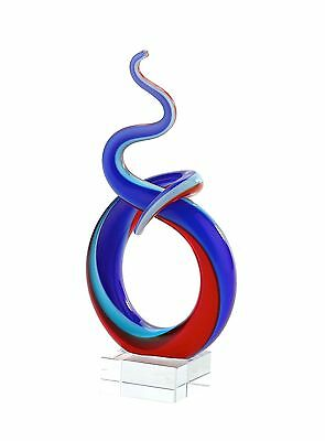 "New 7"" Hand Blown Art Glass Swirl Snake Fused Sculpture Figurine Statue Blue Red"