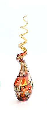 "New Large 18"" Hand Blown Art Glass Swirl Sculpture Figurine Amber Multicolor"