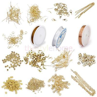 Huge Lot Making Jewelry Necklace Earring & Bracelet Kit Findings Golden