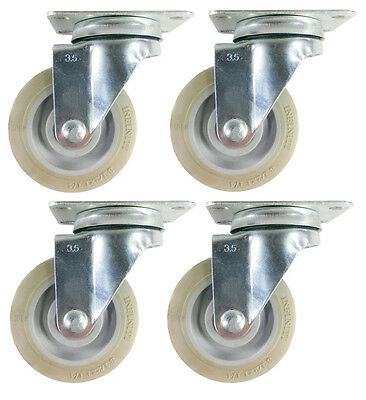 "3-1/2"" x 1-1/4"" Non-Marking Rubber Wheel Caster (A1) - 4 Swivels"