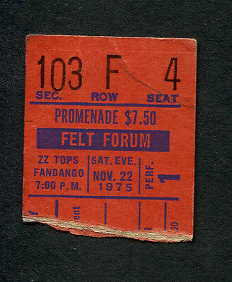 Original 1975 ZZ Top Slade Concert Ticket Stub Felt Forum NY Fandango Tour
