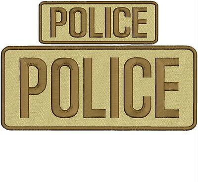 police embroidery patch 4x10 and 2x5 hook on back tan