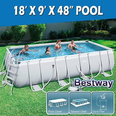 NEW BESTWAY ABOVE GROUND SWIMMING POOL Steel Frame Filter Pump 56439 15ft 457cm