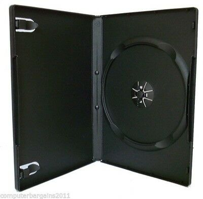 100 Standard Single 14mm HOLD 1 DVD Cover Disc Case BLACK COLOUR - COURIER ONLY