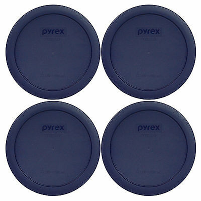 Pyrex 7201-PC Round 4 Cup Storage Lid Cover Blue 4 Pack New for Glass Bowl