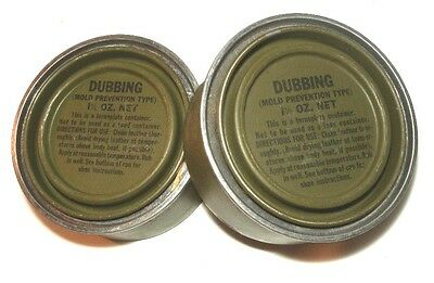 Lot of 2 WWII Shoe Dubbing 1-1/2 oz Cans (Mold Prevention / Waterproofing)