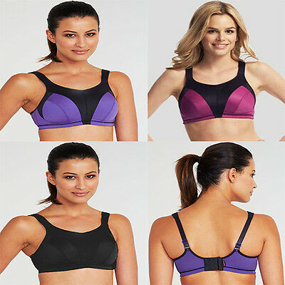 786c3bc55d75ec LADIES HIGH IMPACT Sports Bra Top Wire Free Active Pink Purple Black NEW