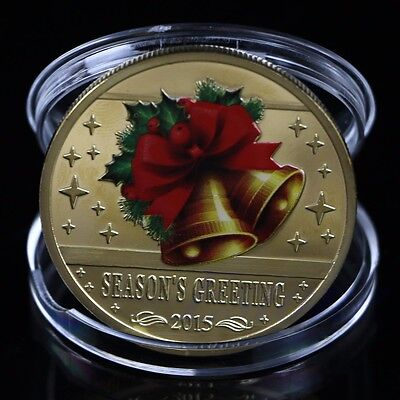 2015 Gold Plated Round Merry Christmas Santa Claus Commemorative Coin Collection