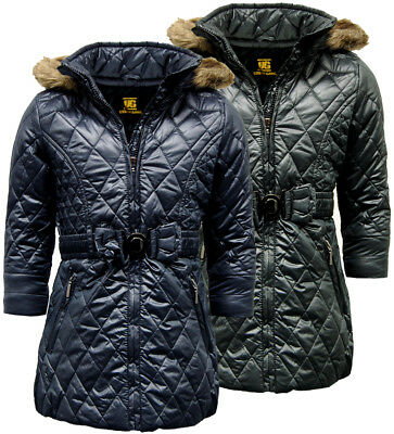 Girls Quilted Fiona Coat | Jacket with Fur Trim Hood - E08